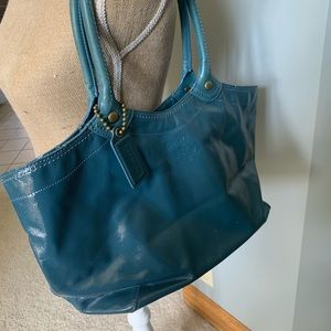 Coach Bleecker Patent Blue Leather Tote